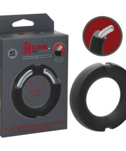 KINK HYBRID Silicone Covered Metal Cock Ring - Black Cock Ring - 45 mm