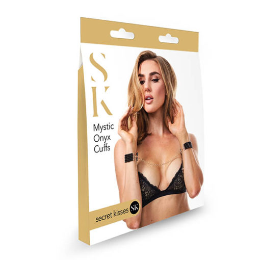 Secret Kisses Mystic Onyx Cuffs - Black/Gold Jewellery Restraints