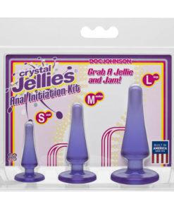 Crystal Jellies Anal Initiation Kit - Purple Butt Plugs - Set of 3 Sizes