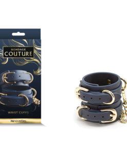 Bondage Couture Wrist Cuffs - Blue Restraints