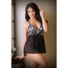 TEASE LILLIAN Floral Lace Babydoll & G-String - Black - S/M Size