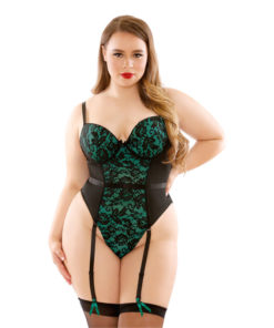 CURVE JADE Moulded Cup Lace & Micro Teddy - Green/Black - 1X/2X Size