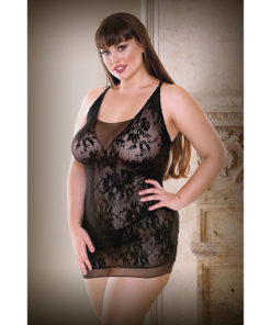 CURVE ISABELLE Black Lace Dress with Panty - Black - 1X/2X Size