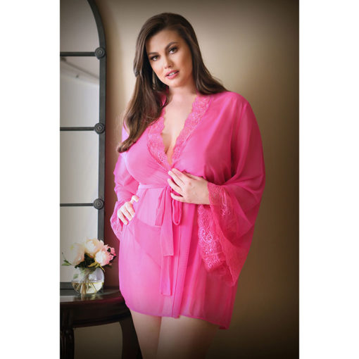 CURVE HALEY Lace & Mesh Robe & Panty - Pink - 3X/4X Size