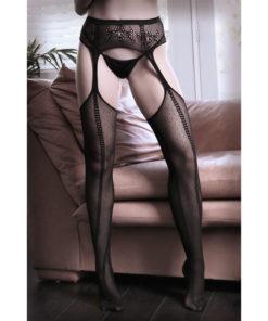 SHEER FANTASY DIM THE LIGHTS Net Garter Belt Stockings - Black - One Size