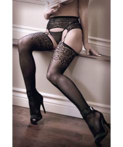 SHEER FANTASY INTO YOU Geometric Garter Stockings - Black - One Size