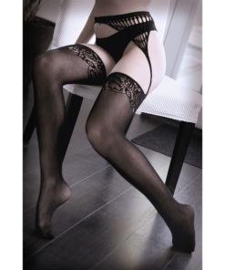 SHEER FANTASY I DON'T MIND Net Gartered Stockings - Black - One Size