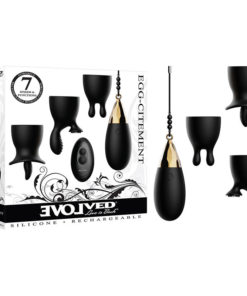 Evolved Egg-Citment - Black USB Rechargeable Egg with 3 Sleeves & Wireless Remote