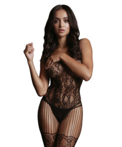 LE DESIR Lace and Fishnet Bodystocking - Black - One Size