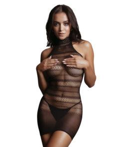 LE DESIR High Lace Neck Net Mini Dress - Black - One Size
