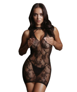 LE DESIR High Neck Lace Mini Dress - Black - One Size
