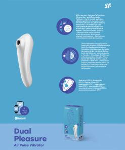 Satisfyer Dual Pleasure - App Contolled Touch-Free USB-Rechargeable Clitoral Stimulator with Vibration