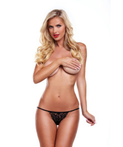 Secrets Scalloped Lace Vibrating Panties - Black Rechargeable Vibrating Panties with Remote - One Size