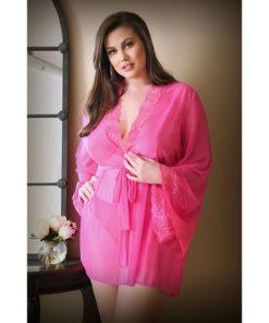 CURVE HALEY Lace & Mesh Robe & Panty - Pink - 1X/2X Size