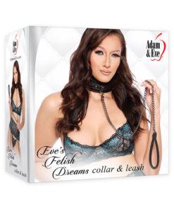 Adam & Eve Eve's Fetish Dreams Collar & Leash - Black Restraints