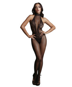LE DESIR Fishnet and Lace Bodystocking - Black - One Size