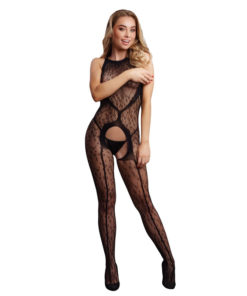 LE DESIR Crotchless Leopard Bodystocking - Black - One Size