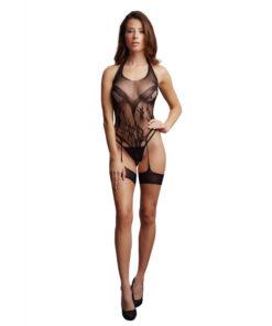 LE DESIR Crotchless Rhinestone Halter Teddy - Black - One Size