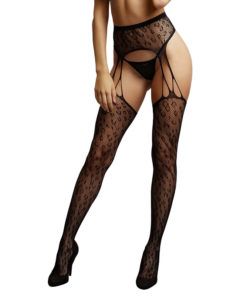 LE DESIR Suspender Leopard Pantyhose - Black - One Size