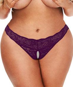 Secret Kisses Lace & Pearls Crotchless Thong - Purple - Queen Size